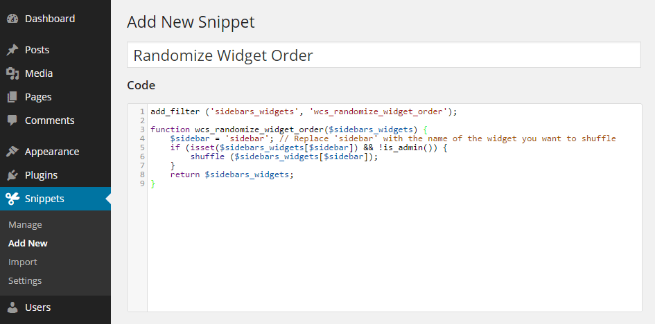 Code Snippets Add New